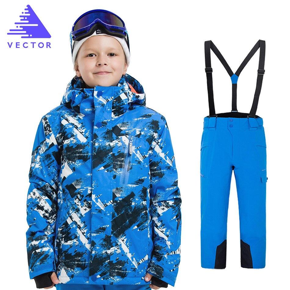 Vectoriel garçons filles Ski costumes chaud imperméable enfants Ski snowboard vestes + pantalon hiver enfants enfant Ski vêtements ensemble
