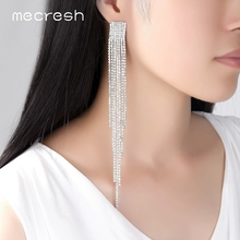 Mecresh Long Tassel Drop Earrings for Women Silver Crystal Rhinestone Big Hanging Dangle Bride Wedding Jewelry MEH1003