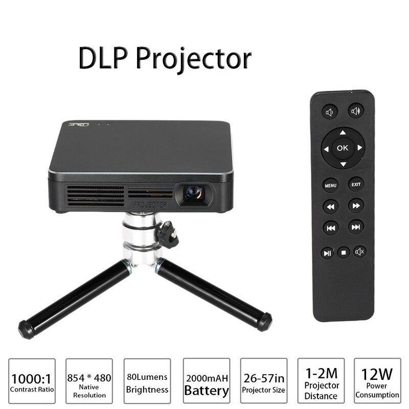 Mini DLP LED Proyector con Trípode HD 1080 P Soporta Wifi Airplay Juego de Cine