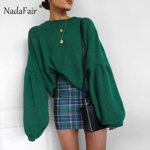 94d5184e4 Nadafair Autumn Oversized Sweaters Women Loose Long Lantern Sleeve Knitted  Sweater Black Baggy Winter Turtleneck Sweater