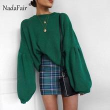 Nadafair Women Autumn Oversize Sweaters Loose Lantern Sleeve Pullover Sweaters Winter Turtleneck Baggy Knitted Jumper Top Femme