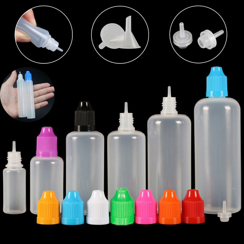 10pcs 3/5/10/15/20/30/50/100/120 Ml Empty LDPE Plastic E Liquid Juice Dropper Eye Squeezable Bottles Long Tip Cap Vape Container