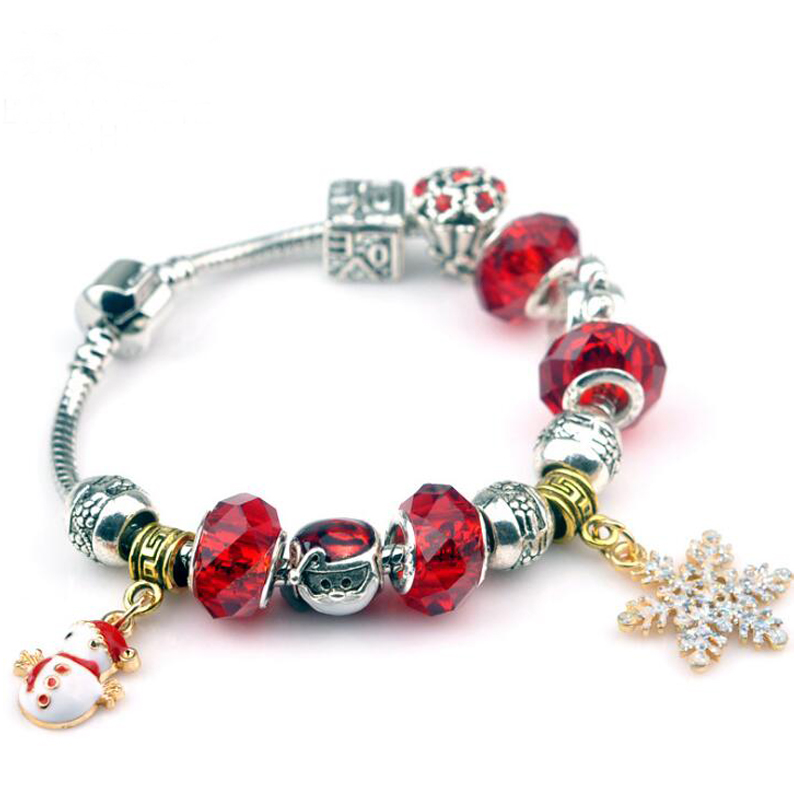 Sue Phil 2017 new fashion hot snow beads fit for Women bracelets European beads Christma ...