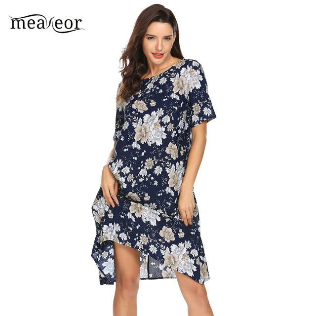 Meaneor  Floral Asymmetrical A-line Shirt Dress 2018 Women Summer Casual Loose Short Sleeve Round Neck Dress Femme