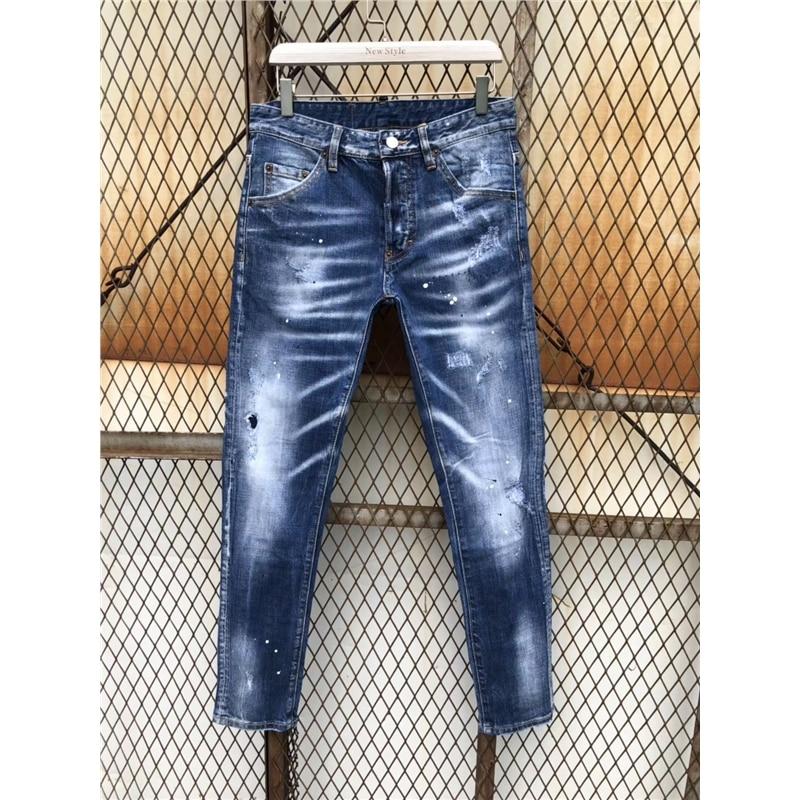 55c98346 Luxury patchwork Skinny Men Jean Slim Elastic Jean Homme Washed Ripped Mens  Hip Hop Pants Jeans Ruched Men's Denim Biker Jeans