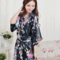 Christmas Gifts 10 Colors Plus Size 3XL Womens Floral Sleepwear Satin Bridesmaid Nightgown Dress Japanese Kimono Robes Women
