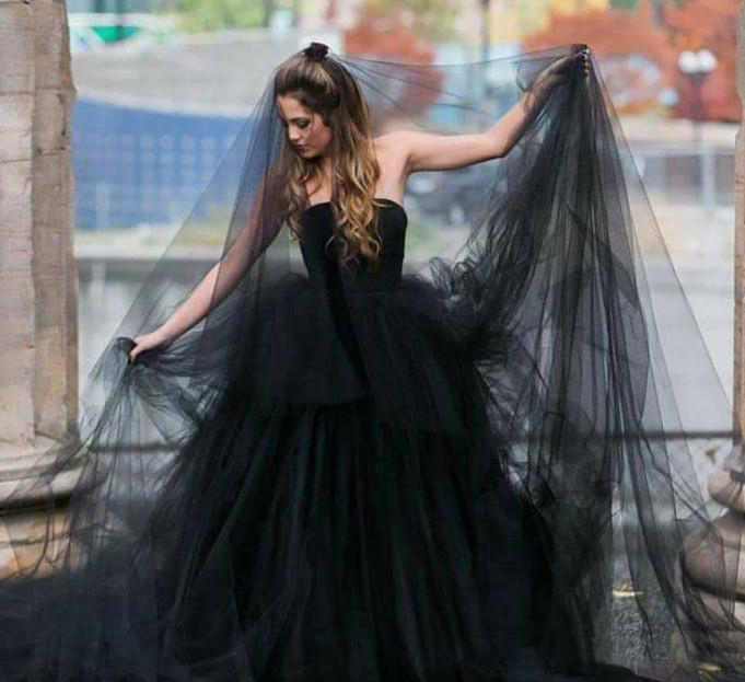 Black Wedding Veils Tulle Long Bridal Veil One Layer For Halloween Party Veils 3 Metre Bridal Party Gifts Wedding Accessories