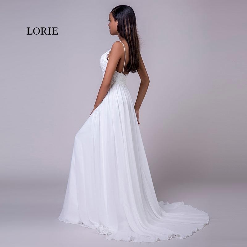 2c353e1099 LORIE Spaghetti Strap Cheap Wedding Dresses Princess Backless Chiffon Lace  Sweep Train White Bride Dress Beach Wedding Gown 2018 | Wedding Apparel