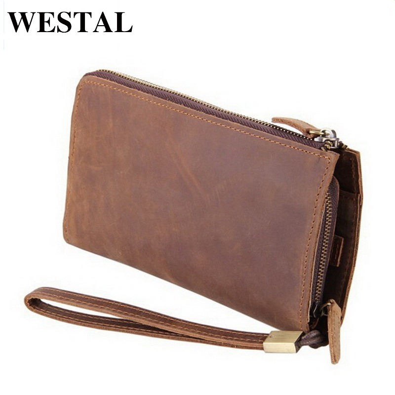 WESTAL genuine leather clutch bags men genuine leather wallet brand new high quality crazy horse leather men clutch wallet