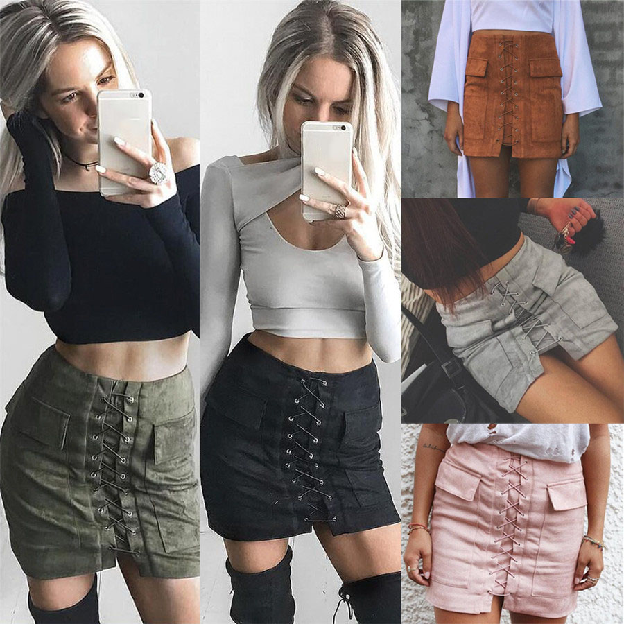 Women 90`s Vintage High Waist External Pocket Tight Suede Lace Up Skirt Autumn Winter Thick Pencil Skirt Preppy Mini Skirt Hot