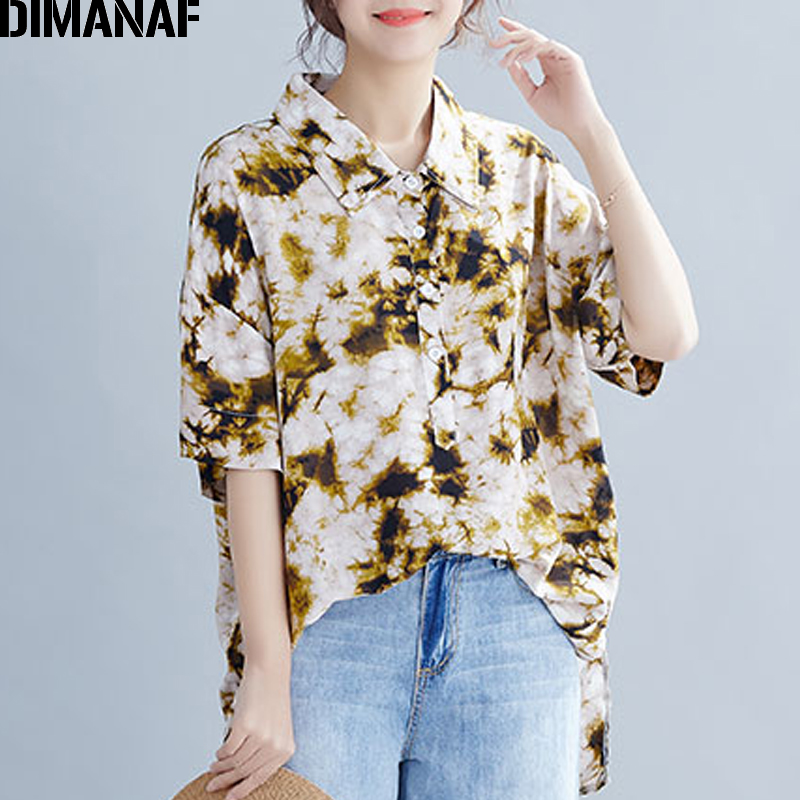 DIMANAF Plus Size Women Blouse Shirts Big Size Lady Tops Cotton Tunic Summer Casual Print Loose Casual Female Clothes 2019 5XL