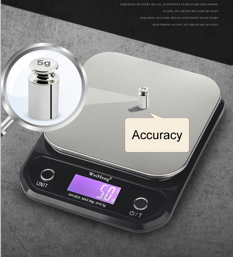 Digital Kitchen Food Scale with 5Kg/10kg Load Bearing Capacity Made with Stainless Steel 4