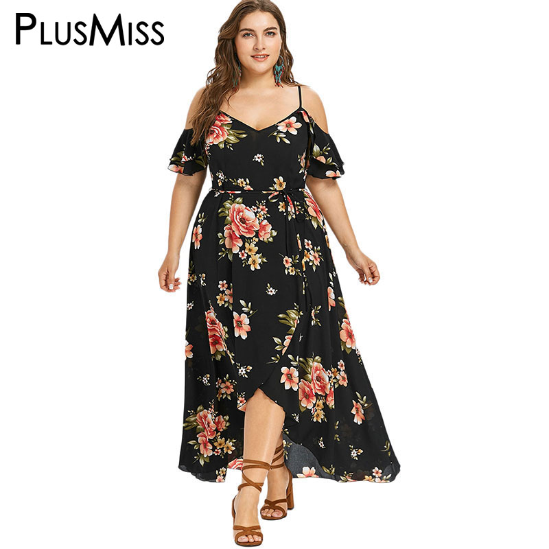 PlusMiss Plus Taille 5XL Ouvert Épaule Floral De Courroie De Gaine Robe Femmes D'été 2018 Plage Boho Maxi Longue Mousseline de Soie Robe Robe D'été