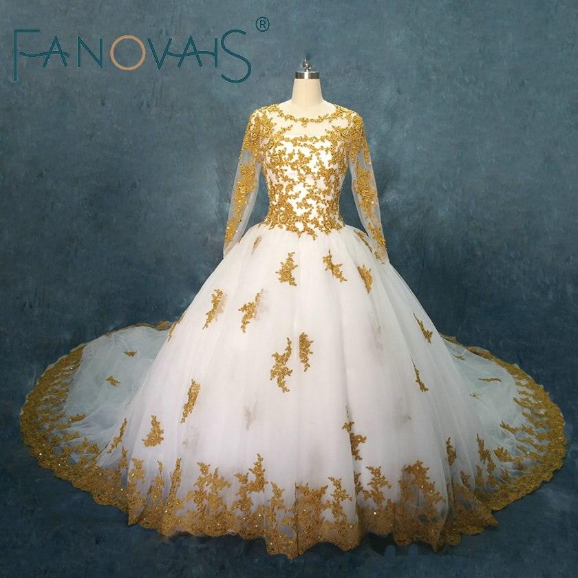 Золотые Свадебные платья одежда с длинным рукавом Кружевное бальное бисером Свадебные платья Vestido де Novia халат de Мари Свадебные платья 2018