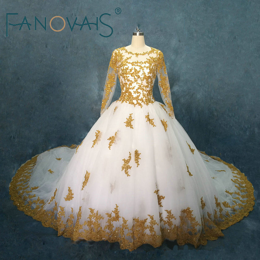 Online Shop Gold Wedding Dresses Long Sleeves Lace Ball Gowns ...