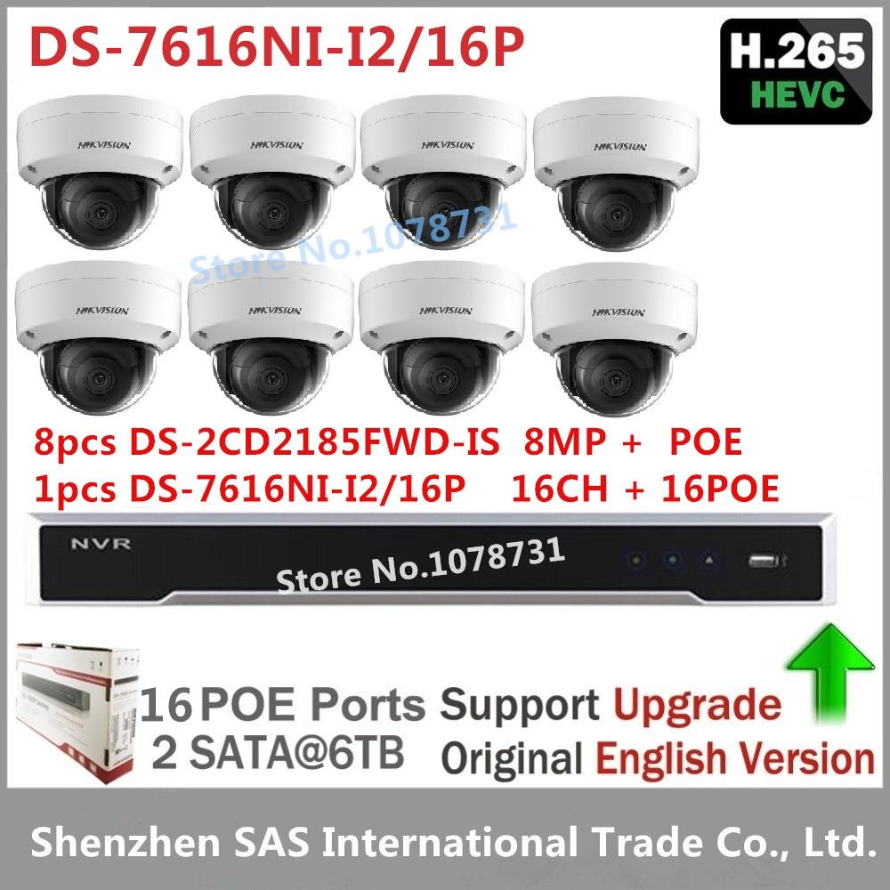 8pcs Hikvision DS-2CD2185FWD-IS 8MP H.265 IP Camera Surveillance Camera + Hikvision H.265 NVR DS-7616NI-I2/16P 16CH 16 POE ports 4pcs hikvision surveillance camera ds 2cd2155fwd i 5mp dome h 265 ip camera hikvision ds 7604ni k1 4p 4ch 4poe 4k nvr one sata