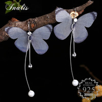 INALIS Trendy Temperament 925 Sterling Silver Dangle Earrings Insect Butterfly Simulated Pearl Women Fashion Jewelry Aretes