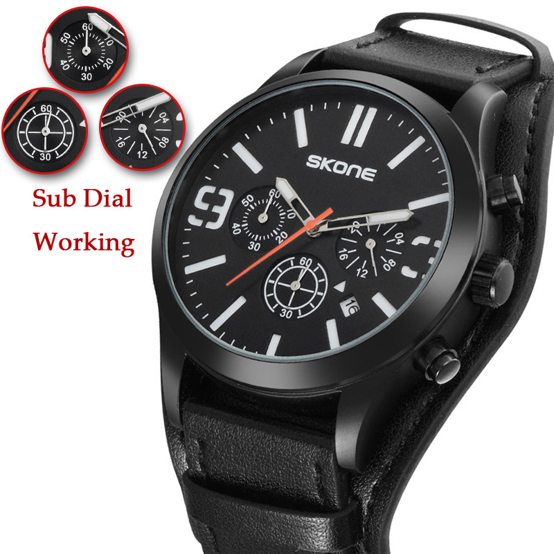 Skone Sport Men Watches Wrist Military Chronograph Quartz Man Outdoor Big Dial Watch Army Male Clock Relogio Masculino SAAT 2017 watches men sport fashion hollow skull 3d design big dial male men s wrist watch casual quartz watch clock man relogio masculino
