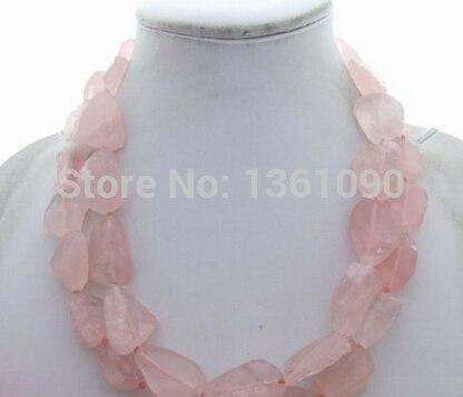 LIVRAISON GRATUITE>>> NO223 Belle! Rose Quart Rough & Cristal Collier