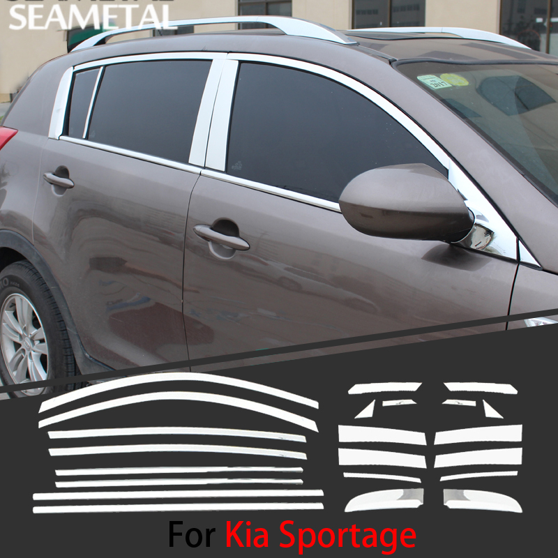 For Kia Sportage 2011 2015 Chrome Covers Chromium Styling Strips Car Full Window Trim With Middle Pillar Decoration Accessories