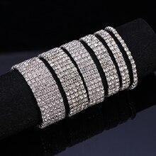 HOCOLE Fashion Crystal Elasticity Wrap Bracelets Dor Women Silver Color Rhinestone Charm Bangles Bracelet Wedding Bridal Jewelry