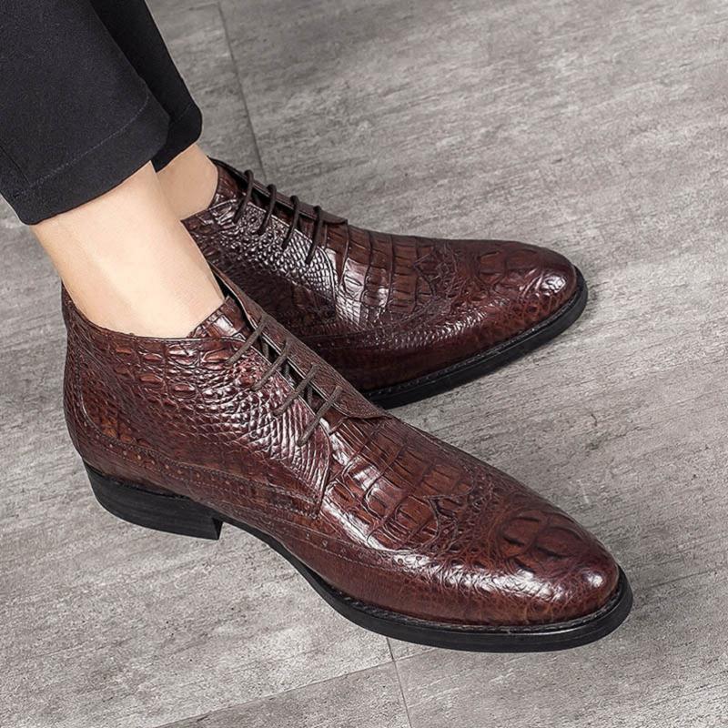Cuero Zapatos Masculina vino Puntiagudo Botas Mycolen Auténtico Cocodrilo Encaje Mens Tinto up Hombres Negro Marca Estilo Negocio Cowboy Diseñador xgx4S7q0