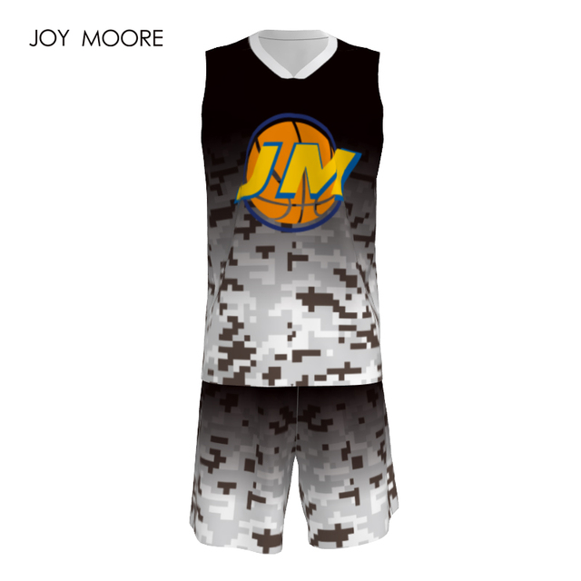 60aa39ab687f JOY MOORE Men s basketball jersey custom black and white Camo basketball  uniform quick dry