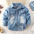 Verano de los niños Camisa Del Bebé Denim Jeans Shirts Outwear Niñas niños Denim Camisas Tops Retro Azul Claro