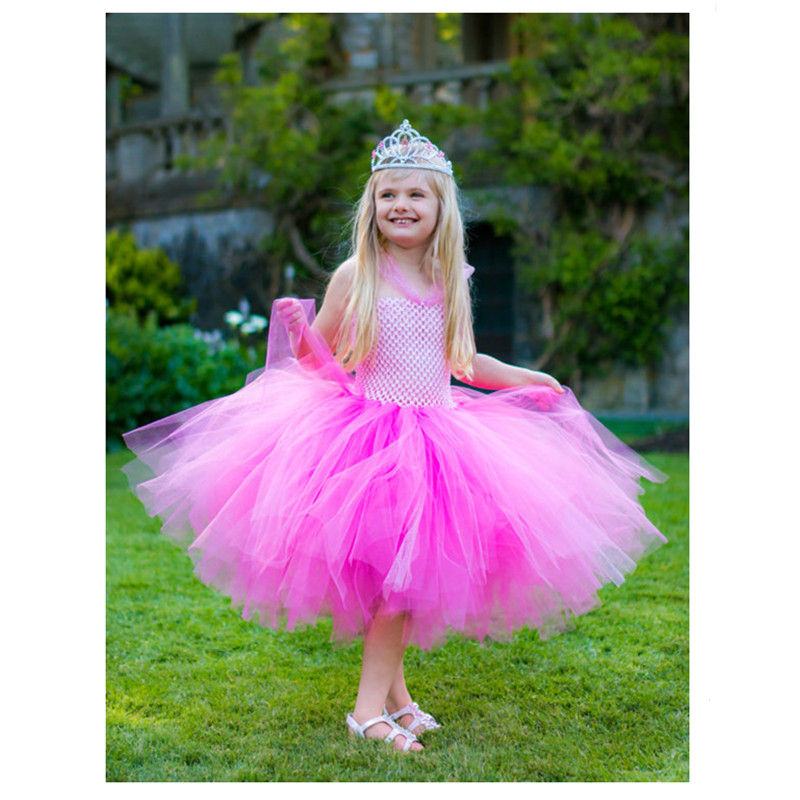 New Halloween Girls Dresses Cosplay Costume Perfectly Pink Princess Tutu Dress Inspired by Aurora Pink Baby Girls Clothes princess alice inspired tutu dress children knee length character birthday party cosplay tutu dresses kids halloween costume