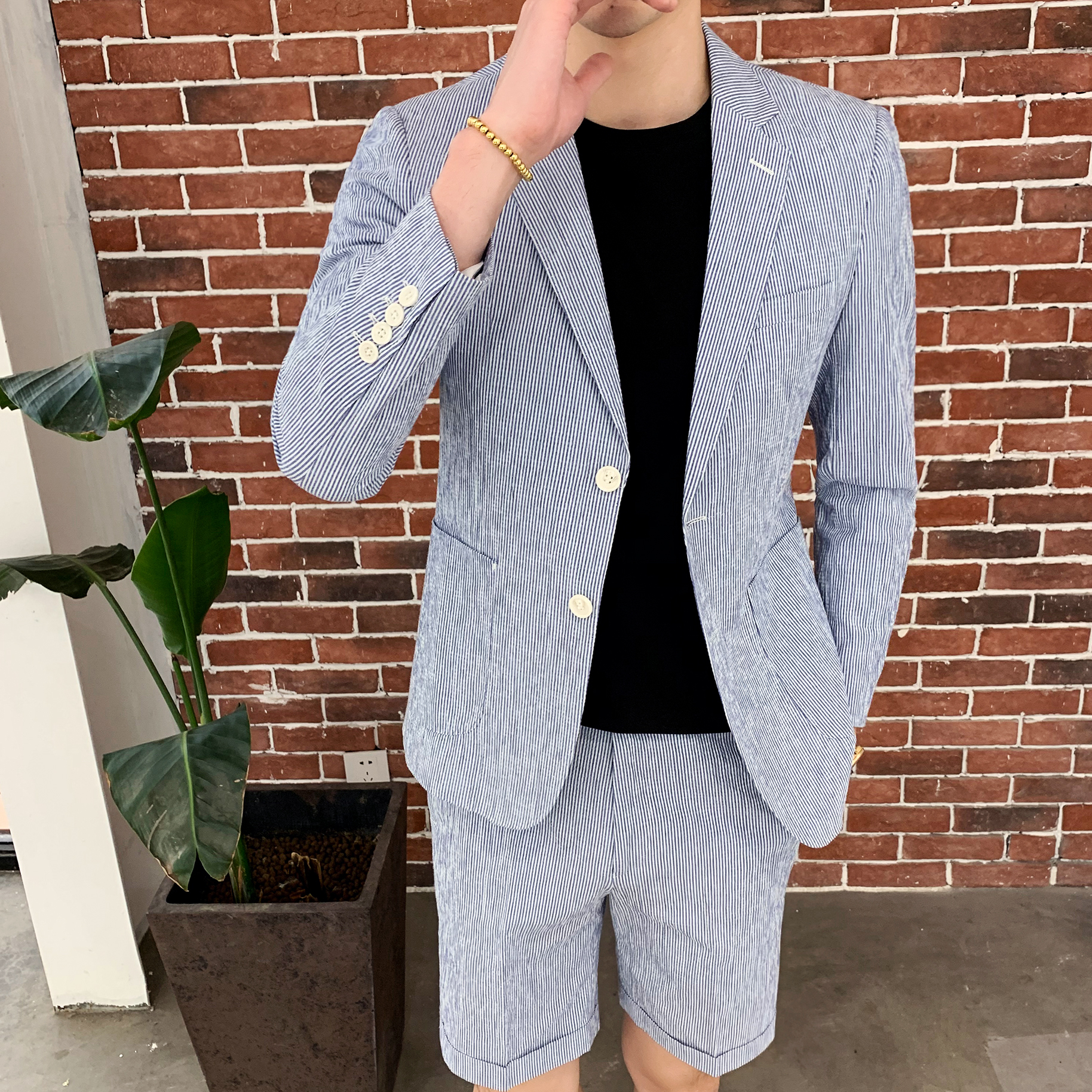 <font><b>Mens</b></font> <font><b>Suit</b></font> With Pants <font><b>Shorts</b></font> 2 Piece <font><b>Men</b></font> Tweed Retro Blue Striped Tuxedo <font><b>Suits</b></font> for Party Costume Homme Tunic <font><b>Suit</b></font> Dress Spring image