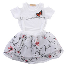 2pcs Stylish Toddler Baby Girls Clothing Sets Infant Kids Girl Floral Skirt Outfits Tops T-shirt Girls Kids Clothes Set 2019 2016 new 2pcs toddler baby girls infant outfits tops t shirt skirt dress kids clothes set tracksuit for girls clothing sets