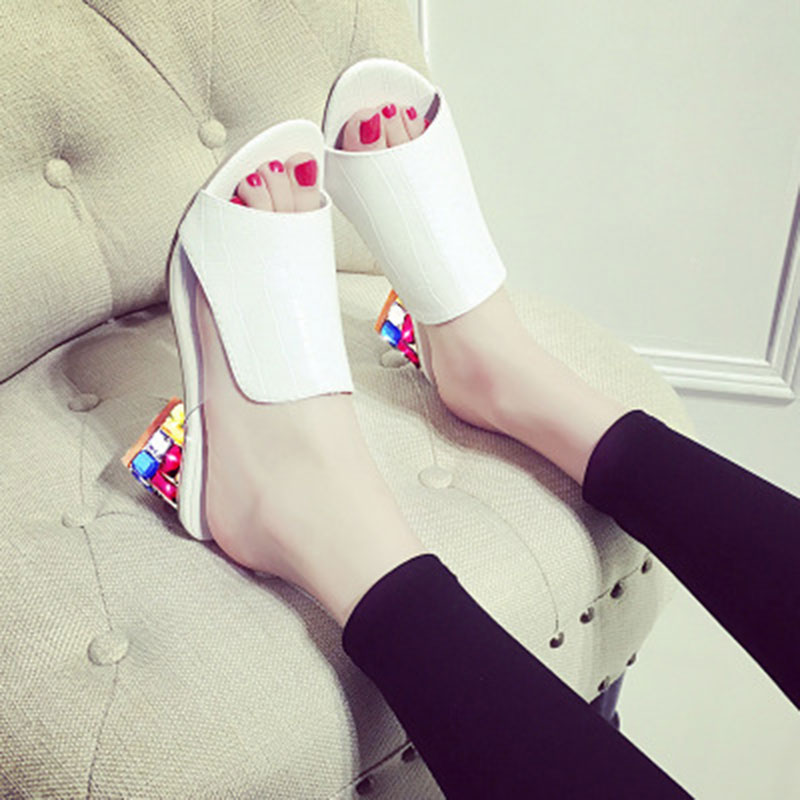 Tamaño Flops Flip color 41 Altos Moda Mujeres 35 Tacones 2018 Zapatos White black Sandalias Zapatillas Rhinestone Nuevo Verano Color wRvxwzOUZq