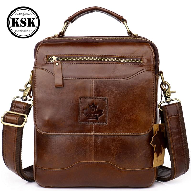 Men Shoulder Bag Genuine Leather Bag Luxury Handbag Messenger Bags Men 2019 Fashion Vintage Flap Hasp Male Crossbody Bags KSK