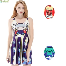 Cartoon The Avengers 3d Print Women Vest Dress Thor Iron Man The Hulk Novelty High Waist Girl Tank Dress Marvel Heroes Newest