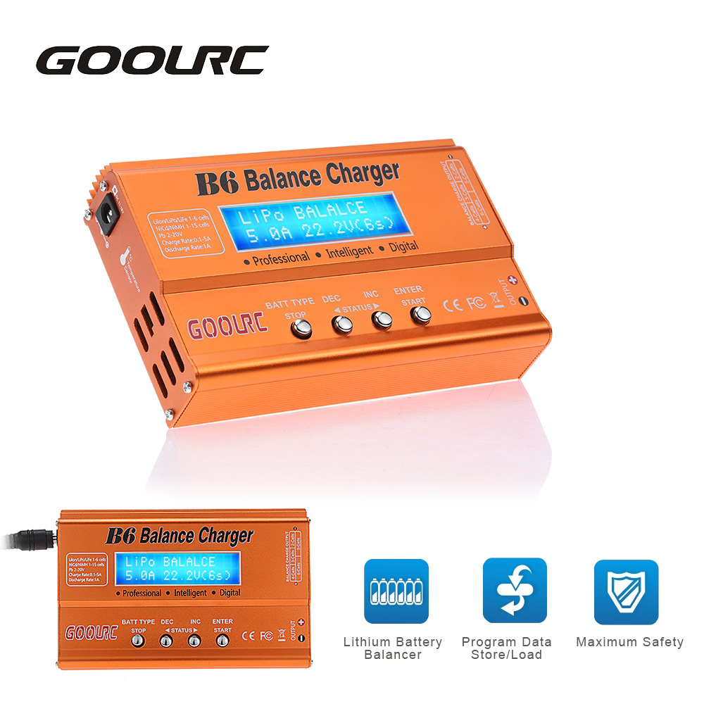 GOOLRC Hot Sale B6 Mini Multi-functional Balance Charger Discharger for LiPo Lilon LiFe NiCd NiMh Pb Battery RC Toys Parts ocday 1set imax b6 lipo nimh li ion ni cd rc battery balance digital charger discharger new sale