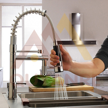 Chrome Black Kitchen Spring Faucet Pull Down Spray Dual Outlet Spout 360 Rotation Single Handle Mixer Tap Bathroom Shower Mixer