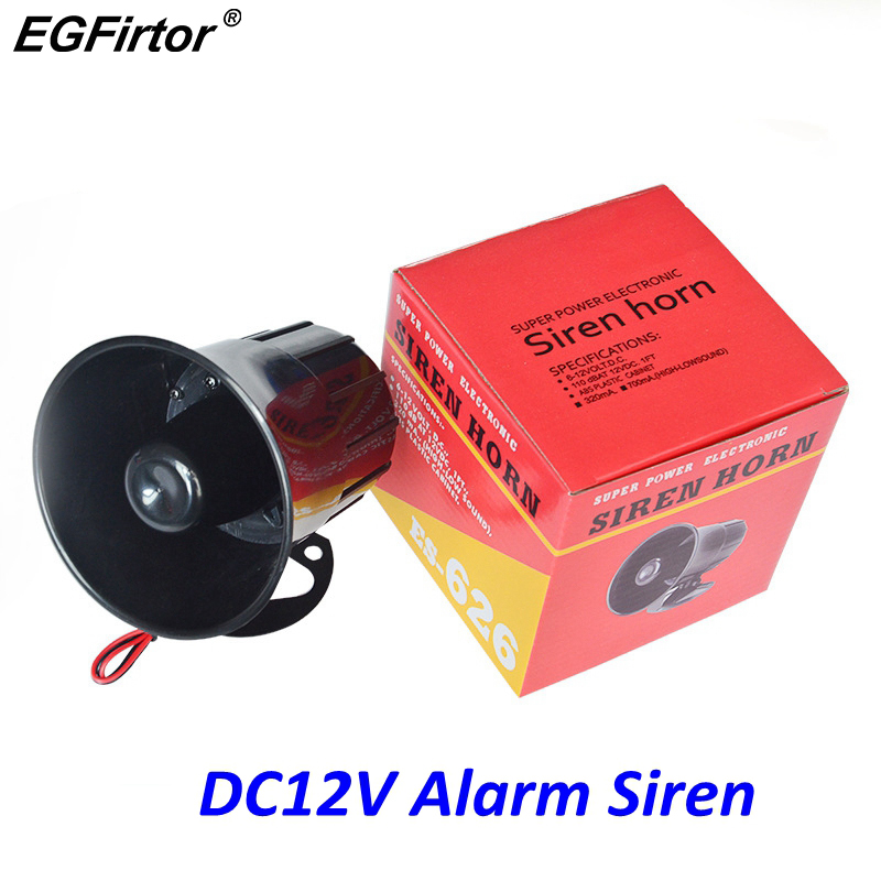 Outdoor Alarm Speaker Siren-Wire Exterior Loud Security 12V DC for 20W 115db