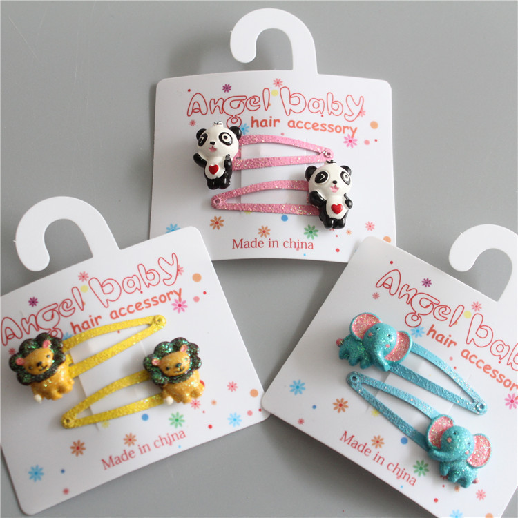 2 PCS Lion Elephant Panda BB Clips Girls Hair Accessories Hairpins Children   Headwear   Baby Hair Clips Headdress