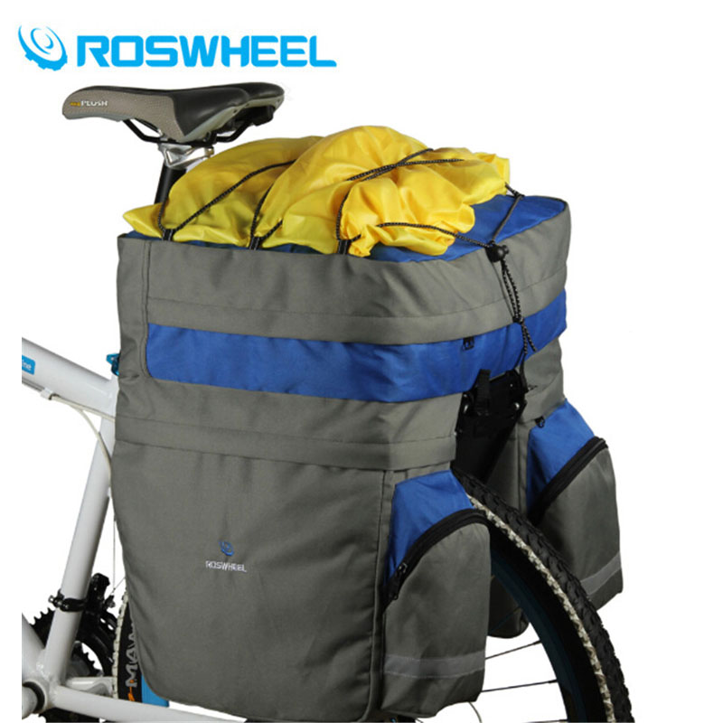 ROSWHEEL 60L MTB Bicycle Carrier Bag Rear Rack Bike Trunk Bag Luggage Pannier Back Seat Double Side Cycling Bycicle Bag 3 Colors rockbros cycling bike bicycle bag 27l full waterproof travel riding mtb road bike rear bag tail seat pannier rear seat trunk bag