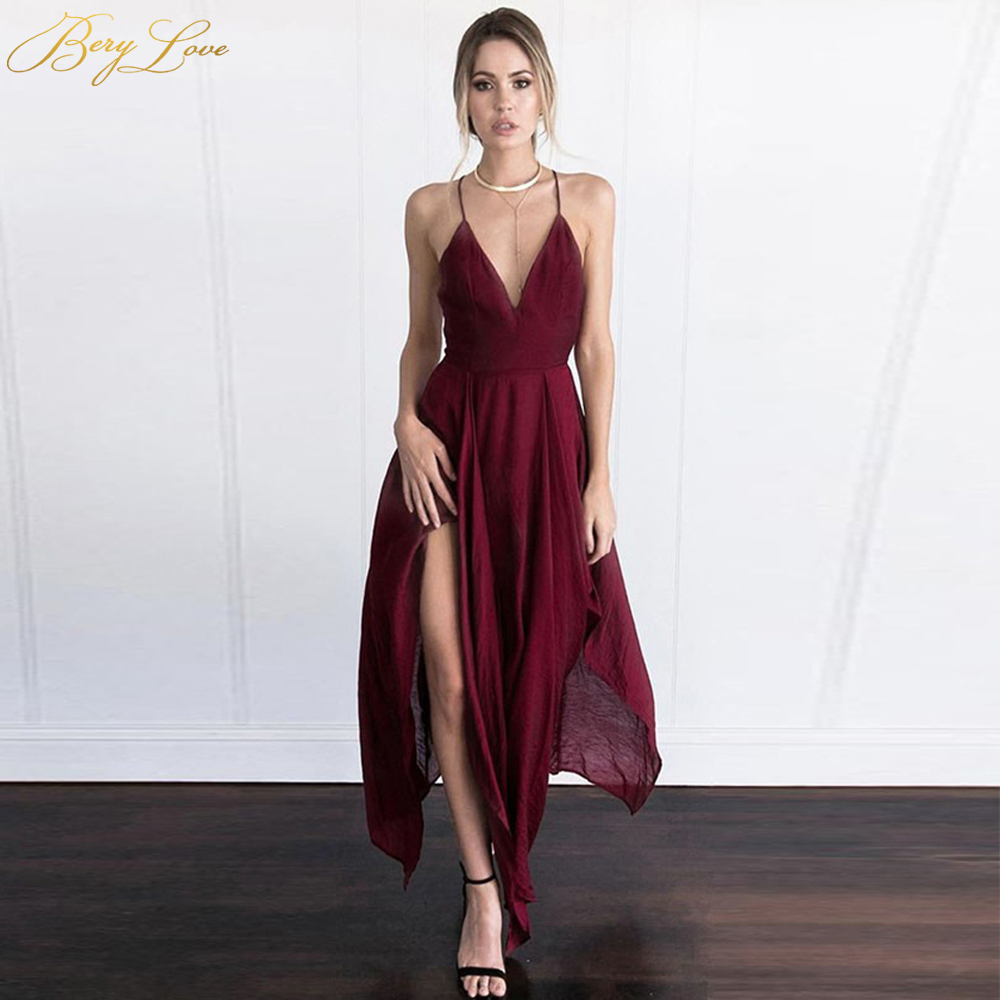 Asymmetrical Tea Length Burgundy   Prom     Dresses   2019 China Spaghetti Straps Backless   Prom     Dress   Chiffon   Prom   Party Gowns Simple
