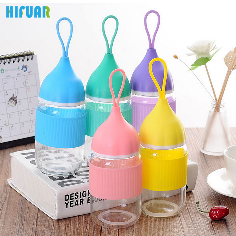 HIFUAR 300ml Fashion Onion glass Watter Bottle heat insulation Portable Glass Leak proof Water bottle with silicone cover rope