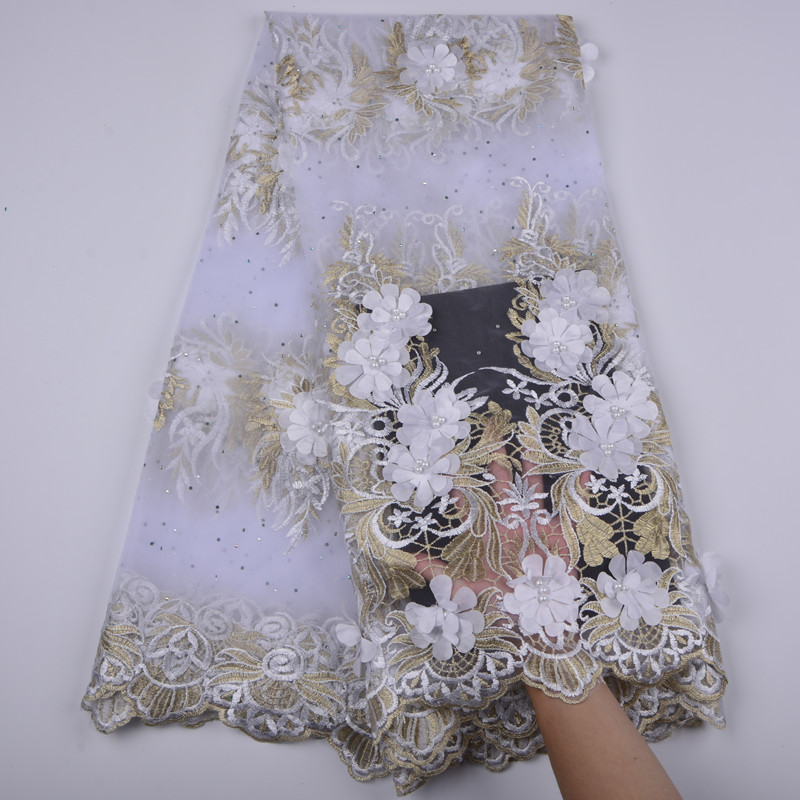 High Quality Nigerian Lace Fabric 2018 With Beads African French Net Lace Fabrics 3D Flower Embroidered