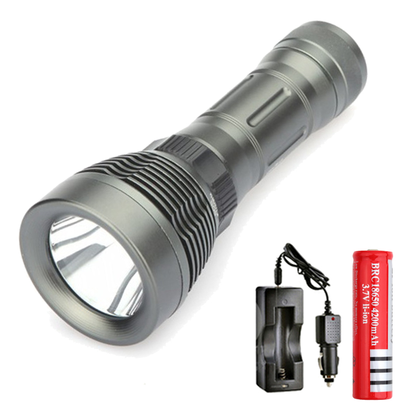 Diver Light CREE XML T6 Torch Diving Flashlight Underwater lamp Swimming Lanterna +rechargeable 18650 battery and Car charger стоимость