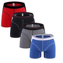 4 Pçs/lote Homens Perna Longa Boxer Shorts Homens Roupa Interior de Algodão Meados de Cintura Cuecas Boxer Shorts Longos boxer calzoncillos hombre marca