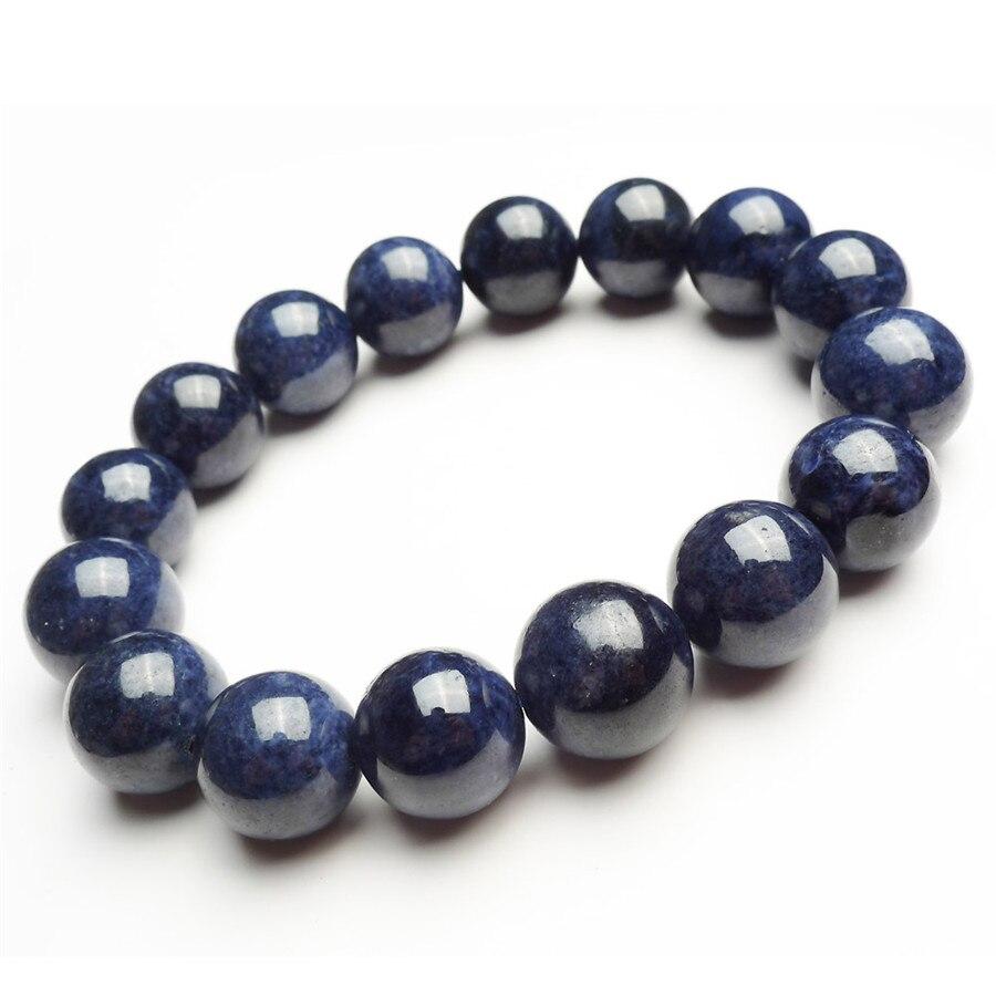 En gros 13mm véritable bleu foncé pierre naturelle Bracelets femmes hommes puissant rond perle extensible Bracelet