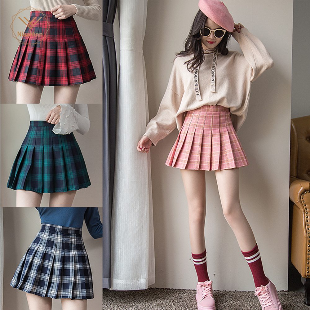 Plus Size Short New Korean Plaid Zipper High Waist School Girl Pleated Plaid Skirt
