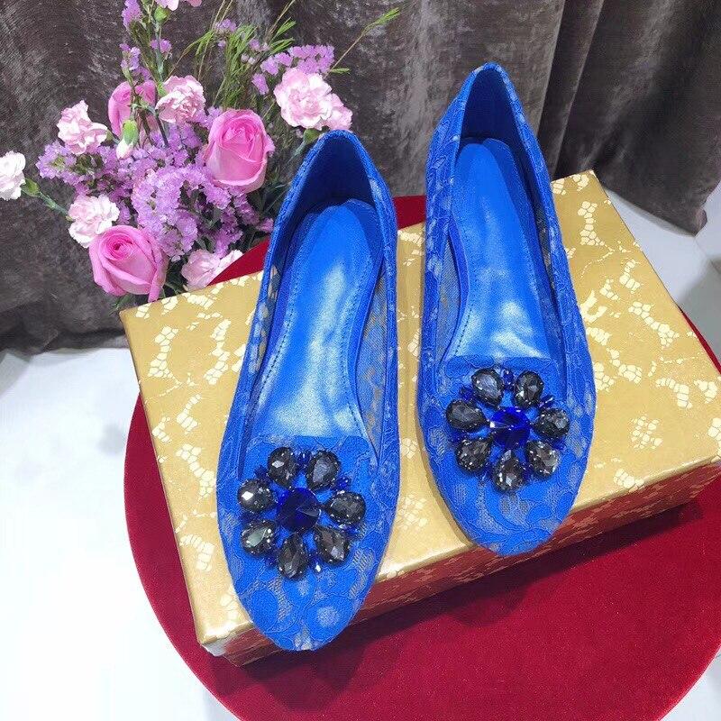Été Printemps As Occasionnels Paresseux Cristal Hot Designer Chaussures Dentelle 2018 Pic Bout Rond Mocassins Appartements as Slip Confortable Pic Marée Sur Femme qSnnBCExwp