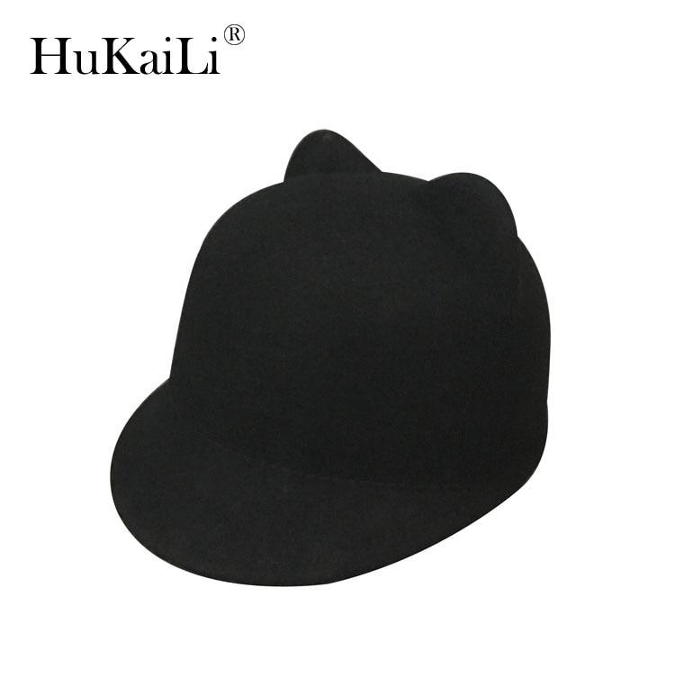 Pure wool, hat baseball caps short eaves equestrian cap ms bear ear hat hat trendy ms plaid flat topped hat cap