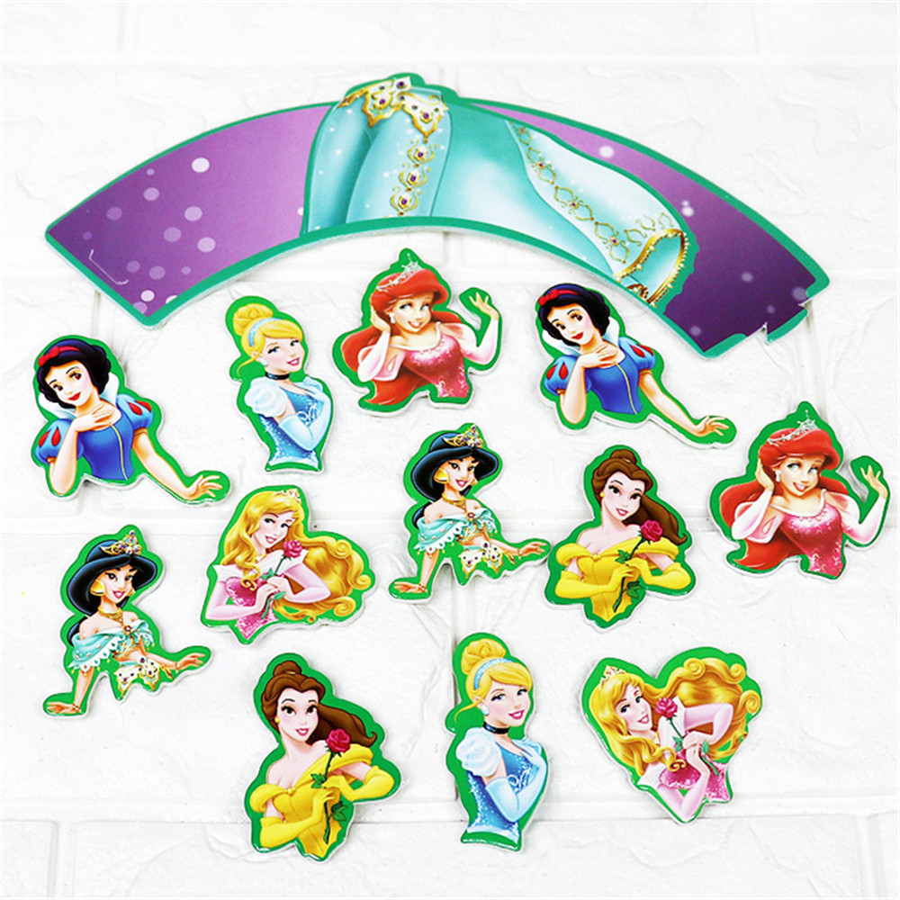 Princess Birthday Cake Decor Cake Topper Halloween Party Children Cake Insert Card party supplies decoration 24pcs set in Cake Decorating Supplies from Home Garden