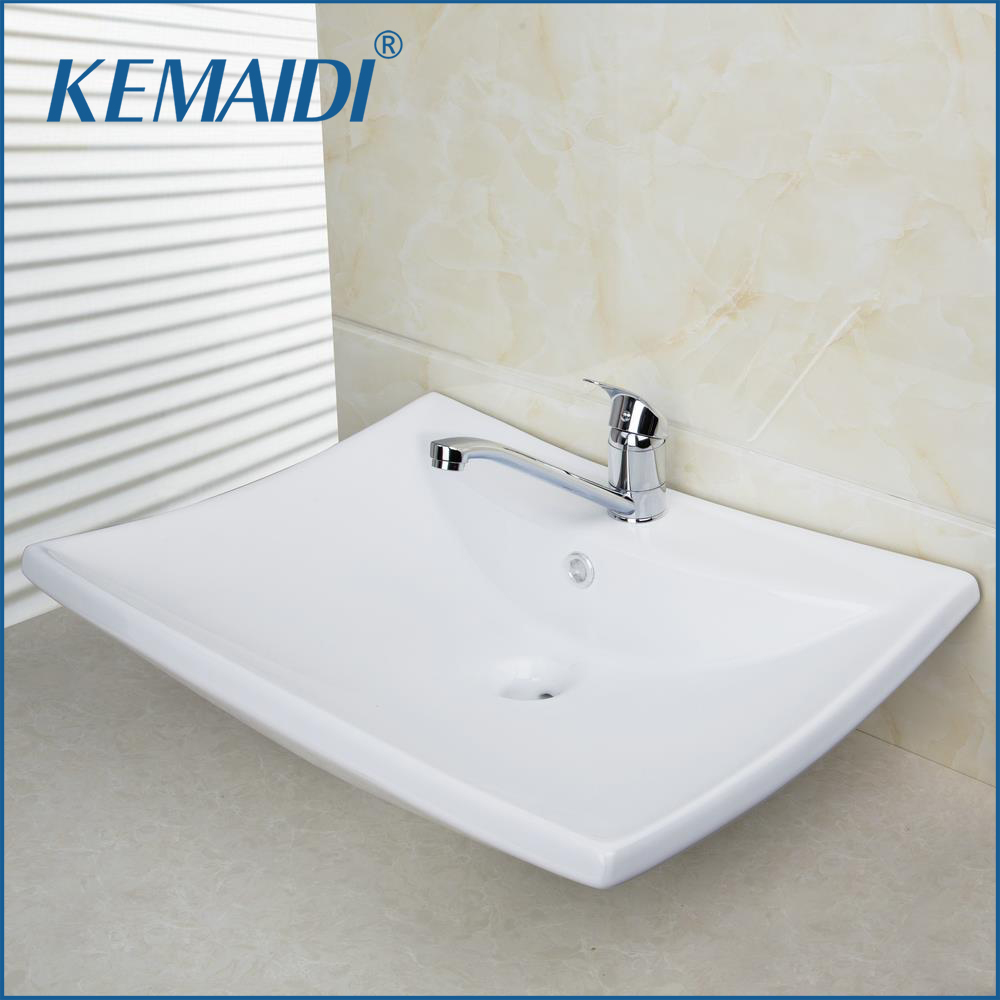 KEMAIDI Concise Style Bathroom Ceramic Basin Sink Set Countertop Rectangular High Quality With Chrome Faucet Mixer Taps